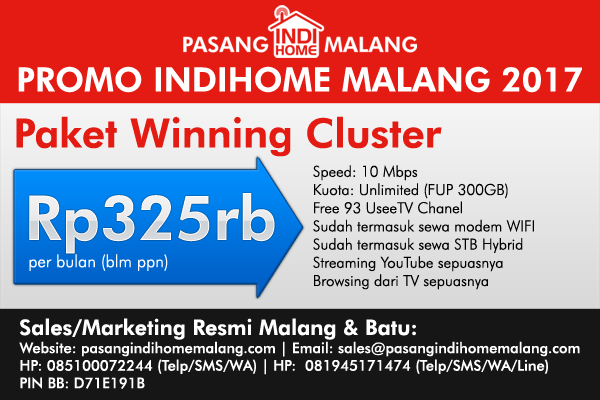 promo pasang indihome malang 2017 winning cluster